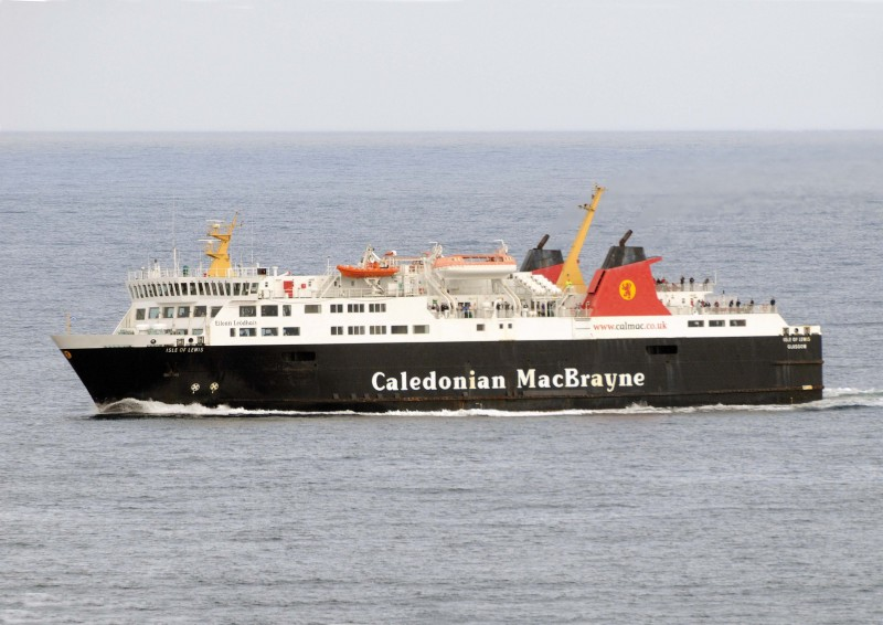 The Isle of Lewis midway between Ullapool and Stornoway as seen from the deck of the Queen Mary 2 in September 2011.