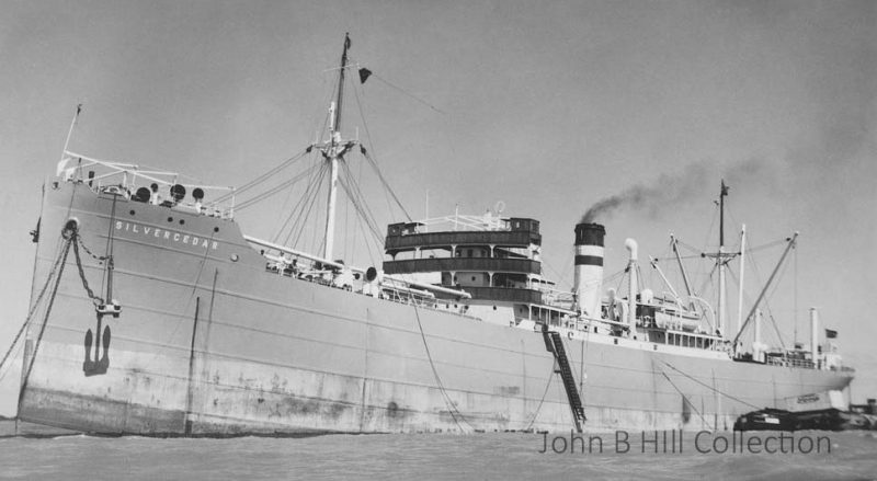 The 4,354grt Silvercedar was built in 1924 by Doxford & Sons at Pallion. On 15th October 1941 she was torpedoed and sunk by U-553 in the Atlantic while on a voyage from New York to Liverpool carrying steel and general cargo. There were 26 survivors but 22 lives were lost.