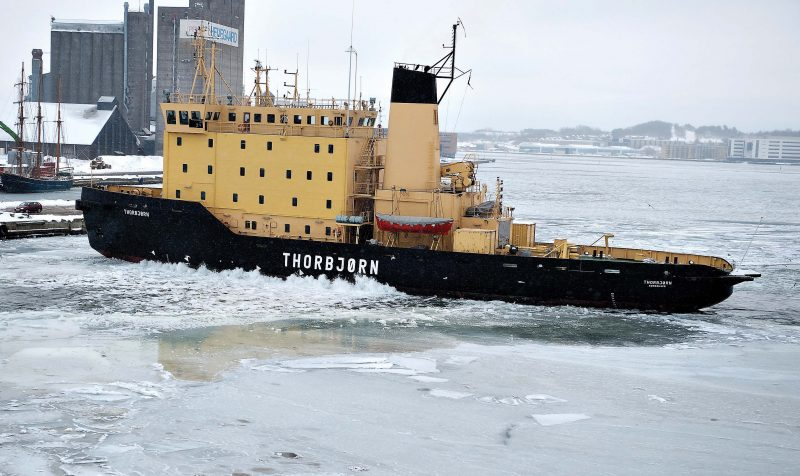 The 2,164grt ice-breaker Thorbjørn was built in 1980 by Svendborg Skibs for the Danish Government. In 1996 she was transferred to the Danish Navy.