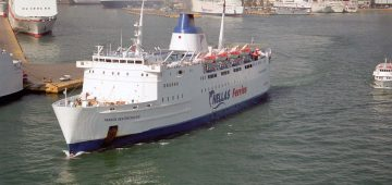 """The 5,590grt Panagia Ekatontapiliani leaving Piraeus in April 2003. She was built in 1972 by Brest Arsenal as the Hengist for Sealink, the first ferry to have """"Sealink"""" painted on her side. In 1990 when Sealink were taken over by Stena she was renamed Stena Hengist, and in 1992 she was sold to the Agoudimos Group (GA Ferries) and was renamed Romilda. In 1993 she became Apollo Express II of Ventouris Sea Lines, and in 1999 she became Express Artemis of Hellas Ferries. In 2001 they renamed her Panagia Ekatontapiliani and in 2004 she joined entouris Sea Lines at Agios Georgios. She is still in service with them today."""