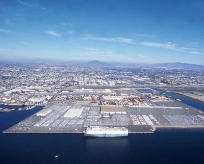 The City Marine Terminal with a MOL vehicle carrier alongside.